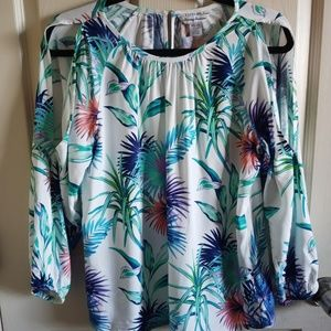 Tommy Bahama Long Sleeved Rayon Tropical Top XS